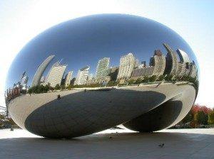 Công trình kiến trúc Cloud Gate bằng thép không gỉ tại Chicago, Hoa Kì
